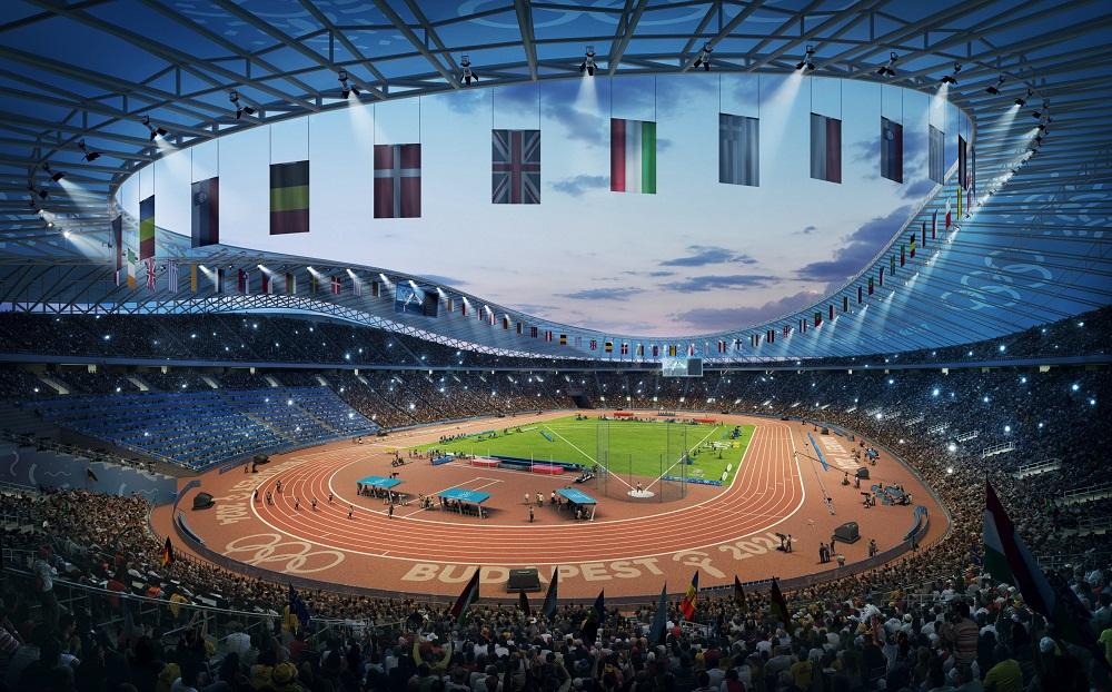 Ilyen lenne az atlétikai stadion Csepel tőszomszédságában fotó: Budapest2024/MTI